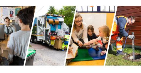 Image avec plusieurs compétences de l'Agglo comme par exemple les déchets, l'eau et assainissement, l'enfance jeunesse