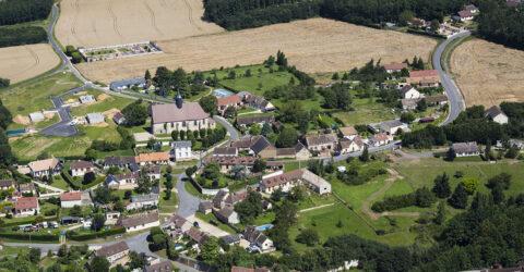Vue aerienne de la commune de Saulnieres