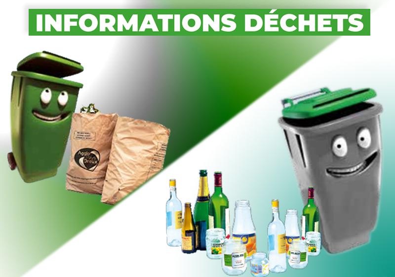 affiche pour les dechets avec des poubelles, sacs pour dechets vegetaux, bouteilles plastiques ou verres