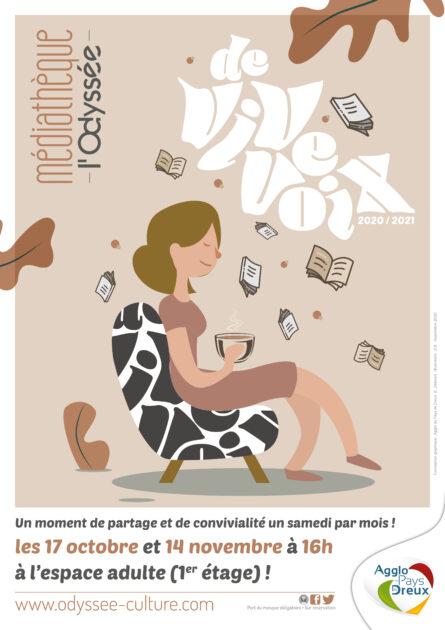 Affiche de l'evenement De vive voix, une femme zen avec un thé sur un fauteuil et des livres autour