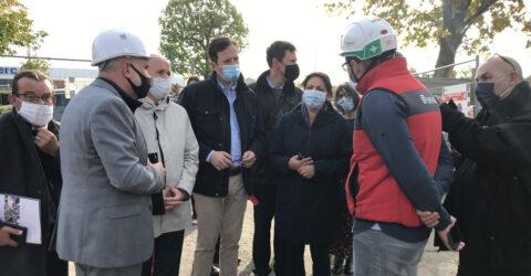 Photo de chantier NPRU avec le Président, le 1er Vice-president et des membres du bureau communautaire de l'Agglo du Pays de Dreux