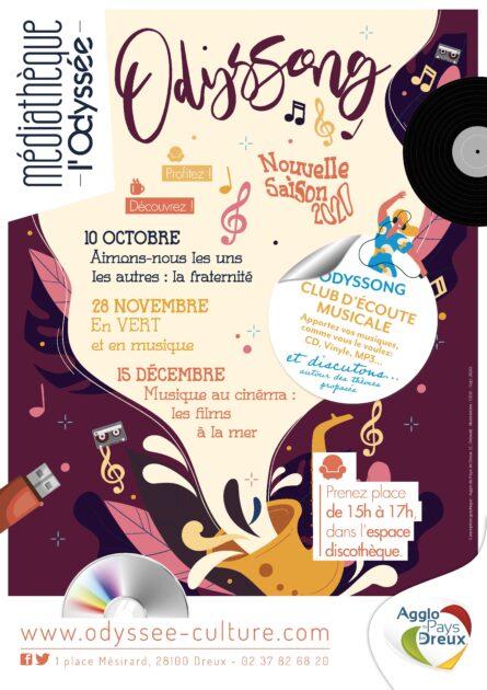 Affiche de l'Odyssong, avec de nombreuses références à la musique comme un vinyle, une clé de sol, un casque audio, clé usb