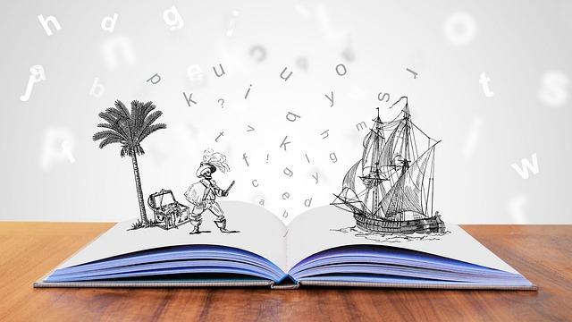 Livre ouvert avec un bateau qui sort de la page du livre sur la droite, sur la gauche, un pirate avec un palmier et un trésor