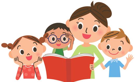 L'heure du conte, photo d'une dame avec 3 enfants autour d'un livre